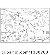 Clipart Of A Black And White Lineart Horse Resting In A Barnyard Royalty Free Vector Illustration
