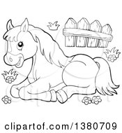 Clipart Of A Black And White Lineart Resting Pony Royalty Free Vector Illustration
