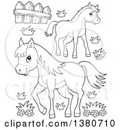 Clipart Of Black And White Lineart Pony And Horse Royalty Free Vector Illustration