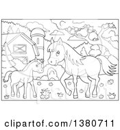Clipart Of Black And White Lineart Pony And Horse In A Barnyard Royalty Free Vector Illustration