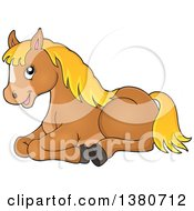 Clipart Of A Cute Brown And Blond Pony Resting Royalty Free Vector Illustration