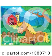 Clipart Of A Cute Brown And Blond Pony Resting By A Barn Royalty Free Vector Illustration