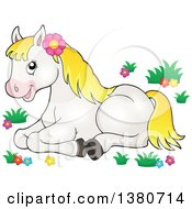 Cute White And Blond Pony Resting In Flowers