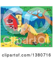 Clipart Of A Cute Brown And Blond Pony Resting Under A Tree Royalty Free Vector Illustration