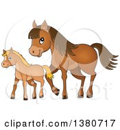 Clipart Of A Cute Brown Foal And Horse Royalty Free Vector Illustration