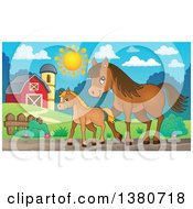 Cute Brown Foal And Horse In A Barnyard