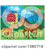 Cute Brown Foal And Horse Near Hay Rolls In A Barnyard