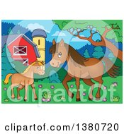 Clipart Of A Cute Brown Foal And Horse In A Barnyard Royalty Free Vector Illustration