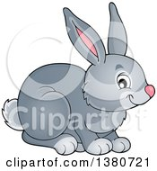 Clipart Of A Cute Gray Bunny Rabbit Royalty Free Vector Illustration