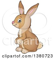 Clipart Of A Cute Brown Bunny Rabbit Royalty Free Vector Illustration