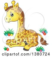 Clipart Of A Cute Baby Giraffe Resting Royalty Free Vector Illustration by visekart