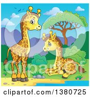 Clipart Of A Cute Baby Giraffe And Mother At A Watering Hole Royalty Free Vector Illustration