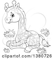 Clipart Of A Black And White Lineart Cute Baby Giraffe Resting Royalty Free Vector Illustration