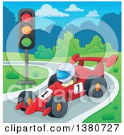 Clipart Of A Race Car Driver On A Track Royalty Free Vector Illustration