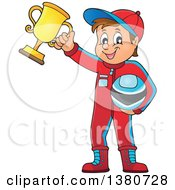 Race Car Driver Holding His Helmet And First Place Trophy