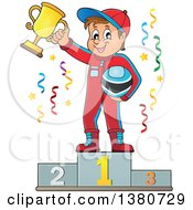 Race Car Driver Holding His Helmet And First Place Trophy On A Podium