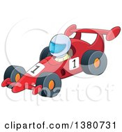Clipart Of A Race Car Driver In A Car Royalty Free Vector Illustration by visekart