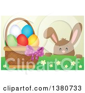 Clipart Of A Brown Bunny Rabbit Peeking Over A Hill At An Easter Basket Full Of Eggs Royalty Free Vector Illustration