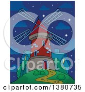 Clipart Of A Brick Windmill And House On Top Of A Hill Against A Night Sky Royalty Free Vector Illustration