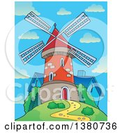 Clipart Of A Brick Windmill And House On Top Of A Hill Against A Day Sky Royalty Free Vector Illustration