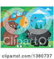 Clipart Of A Busy Bee Hive And A Happy Bears Royalty Free Vector Illustration by visekart