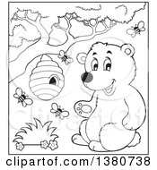 Clipart Of A Black And White Lineart Busy Bee Hive And A Happy Bear Royalty Free Vector Illustration by visekart