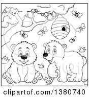 Clipart Of A Black And White Lineart Busy Bee Hive And A Happy Bears Royalty Free Vector Illustration by visekart