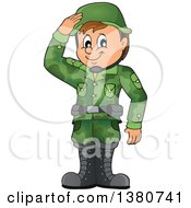 Clipart Of A Happy Brunette White Male Soldier Saluting Royalty Free Vector Illustration
