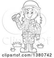 Clipart Of A Black And White Happy Female Soldier Holding A Walkie Talkie Royalty Free Vector Illustration