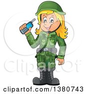 Clipart Of A Happy Blond White Female Soldier Holding A Walkie Talkie Royalty Free Vector Illustration