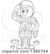 Clipart Of A Black And White Happy Male Soldier Saluting Royalty Free Vector Illustration