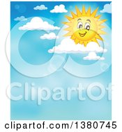 Clipart Of A Happy Sun Character With Clouds And Flares In A Blue Sky Royalty Free Vector Illustration