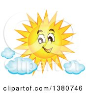 Clipart Of A Happy Sun Character With Clouds Royalty Free Vector Illustration by visekart