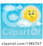 Happy Sun Character With Clouds And Rays In A Blue Sky