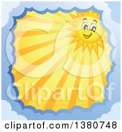 Happy Sun Character With Rays In A Border Of Clouds