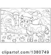 Black And White Lineart Cow In A Barnyard