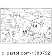 Black And White Lineart Pigs At A Mud Puddle In A Barnyard
