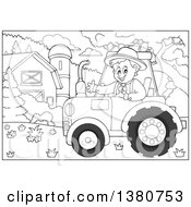 Poster, Art Print Of Black And White Happy Male Farmer Waving And Driving A Red Tractor By A Barn And Silo