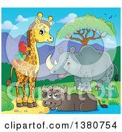 Clipart Of A Happy Rhinceros Water Buffalo Giraffe And Parrot At A Pond Royalty Free Vector Illustration