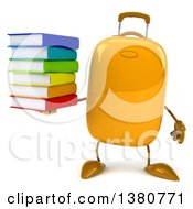 Clipart Of A 3d Yellow Suitcase Character On A White Background Royalty Free Illustration by Julos