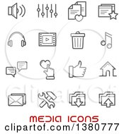 Clipart Of Gray Media Icons And Red Text Royalty Free Vector Illustration by Vector Tradition SM