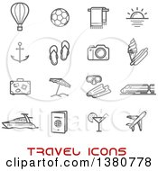 Clipart Of Gray Travel Icons And Red Text Royalty Free Vector Illustration by Vector Tradition SM