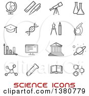 Clipart Of Gray Science Icons And Red Text Royalty Free Vector Illustration by Vector Tradition SM