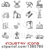 Clipart Of Gray Industry Icons And Red Text Royalty Free Vector Illustration