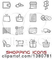 Clipart Of Gray Shopping Icons And Red Text Royalty Free Vector Illustration