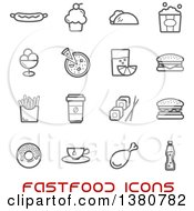 Clipart Of Gray Fast Food Icons And Red Text Royalty Free Vector Illustration