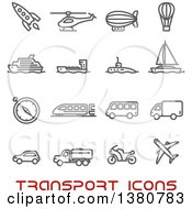 Clipart Of Gray Transport Icons And Red Text Royalty Free Vector Illustration