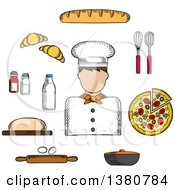 Clipart Of A Sketched Baker Pizza And Baguette Croissant And Milk Eggs And Dough Chopping Board And Cutlery Salt Pepper And Pot Royalty Free Vector Illustration
