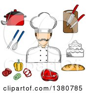 Clipart Of A Sketched Male Chef With Bread Beef Steak Pot With Ladle Tiered Cake Sliced Fresh Vegetables Chopping Board With Knives Whisk And Fork Royalty Free Vector Illustration
