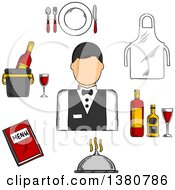 Clipart Of A Sketched Waiter In Uniform Bow Tie Encircled By Menu Book Apron Tray With Bottles And Glass Champagne In Ice Bucket Plate With Fork Knife And Spoon Silver Cloche Royalty Free Vector Illustration
